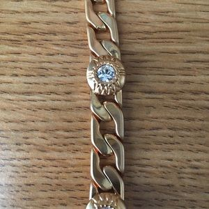 Gold tone bracelet with cubic Zirconia